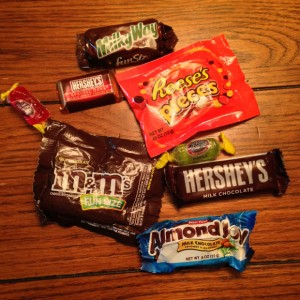 M&M's, Hershey Bars, Jolly Ranchers, Almond Joy, Milky Way
