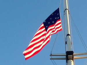 This flag is a replica of the actual flag flown at Fort McHenry. Looks smallish, doesn't it?