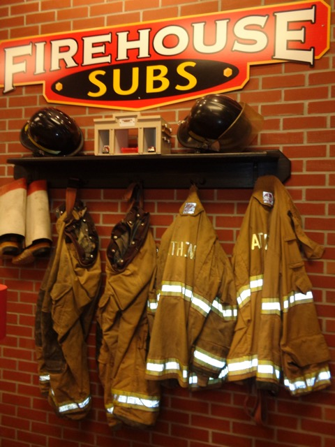 we ate at a really cool place called fire house subs. This is one of the decorations.