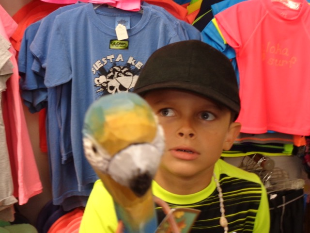 My brother, Ricky found this staff with a parrots head and all the sudden we see it coming over a shelf! It was so funny.