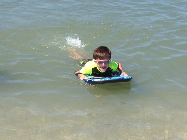 Ricky got to try out the boogie board!