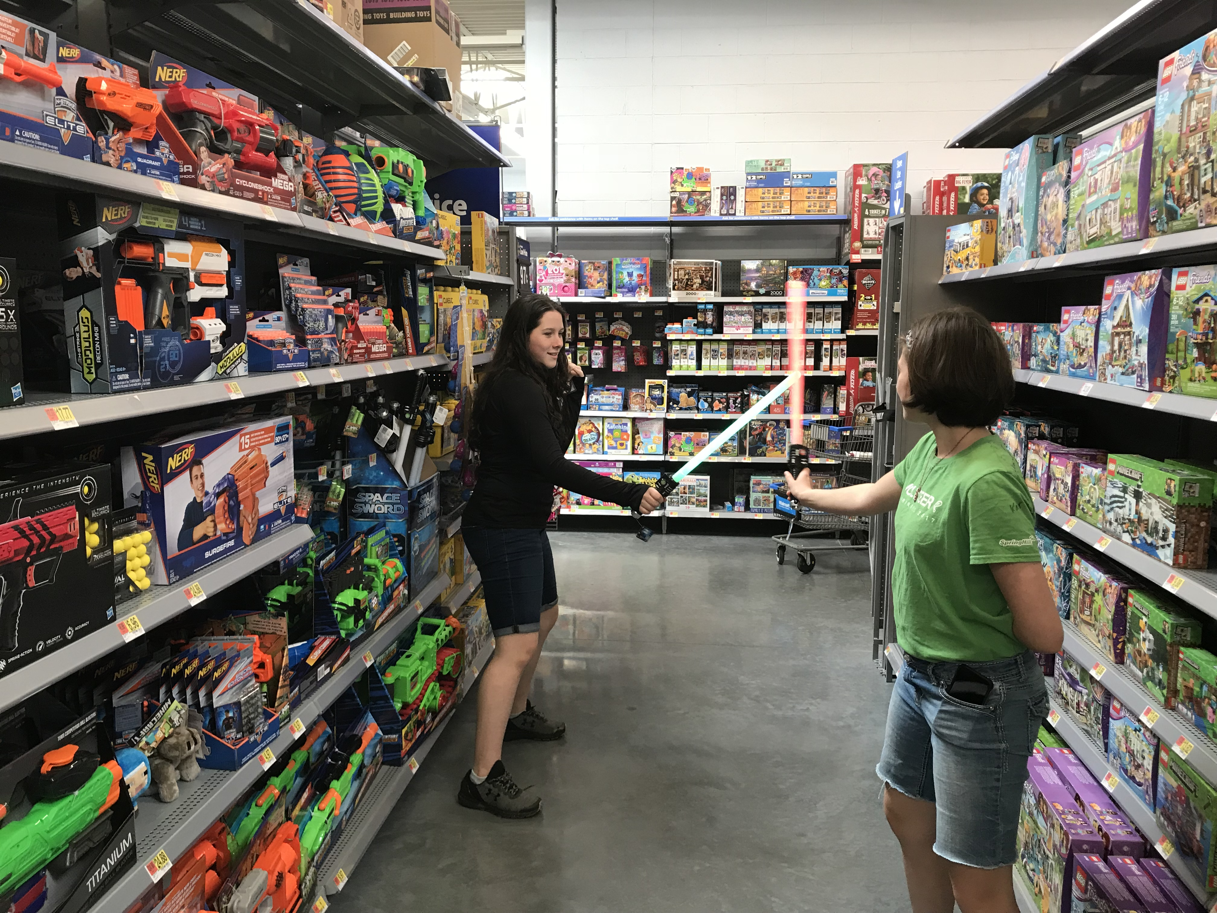 Elie and I had an epic lightsaber battle in the toy aisle at Walmart.