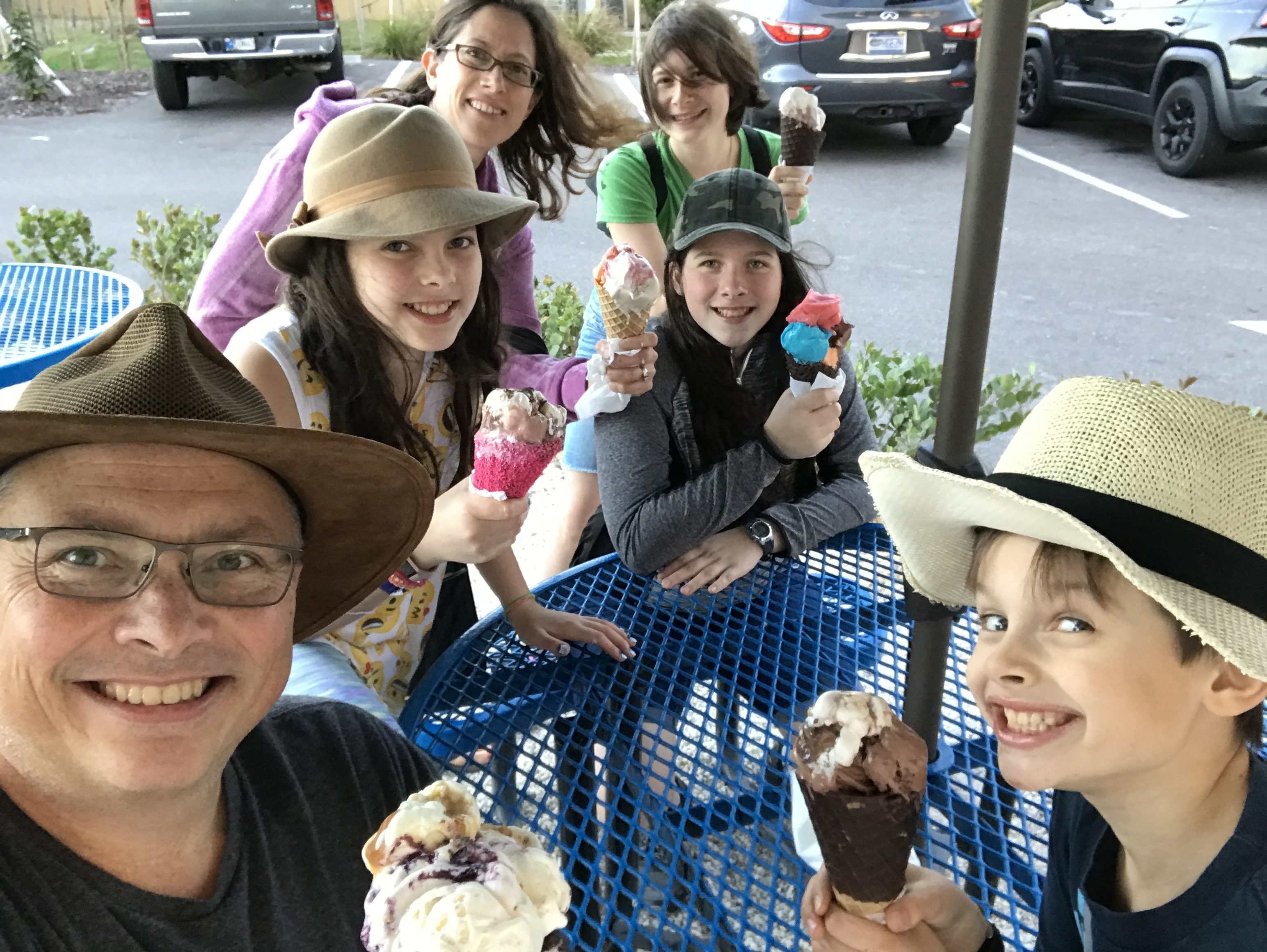 We took a picture to celebrate this special moment where we all got way to much ice cream and ate it all. 